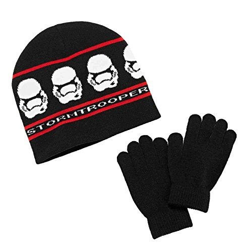 Star Wars Stormtrooper 100% Acrylic Reversible Knit Winter Beanie Hat with Gloves