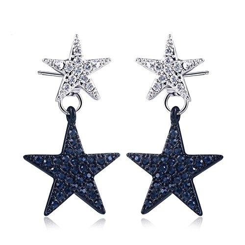 Double White Blue Star Crystal Dangle Earring Ear Stud Jewelry Set Women Fashion
