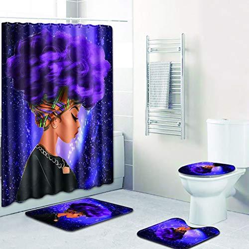 Dirance @ 4Pcs African Girl Printed Bathroom Accessories - Shower Curtain Bathroom Carpet Toilet Bath Cover (C)