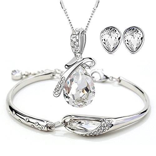 ISAACSONG.DESIGN Silver Tone Healing Crystal Rhinestone Drop Pendant Necklace, Bracelet, Earring Set for Women (White)
