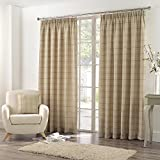 Tony's Textiles Burton Check Stripe Cotton Rich Tape Top Fully Lined Curtains, Natural Cream, 90 x 72-Inch