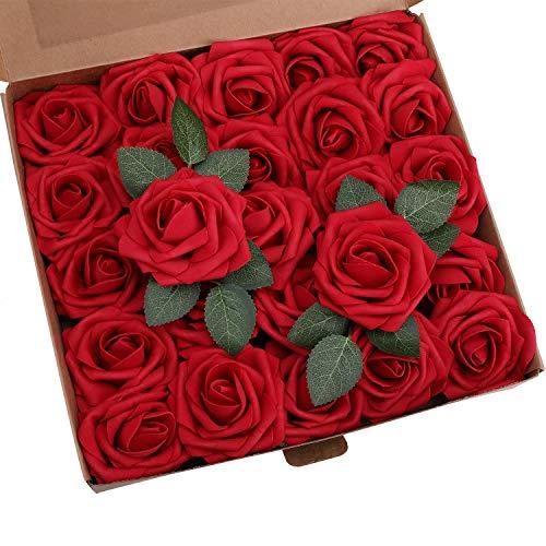 YSBER Roses Artificial Flowers - 50Pcs Big PE Foam Rose Artificial Flower Head for DIY Wedding Bouquets Centerpieces Bridal Shower Party Home Decorations (50 PCS, Wine -