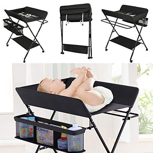 Verschoontafel baby Opvouwbaar en Draagbaar, in Hoogte Verstelbaar, Luiertafel, Verzorgingstafel Giraffe Patroon (Zwart)