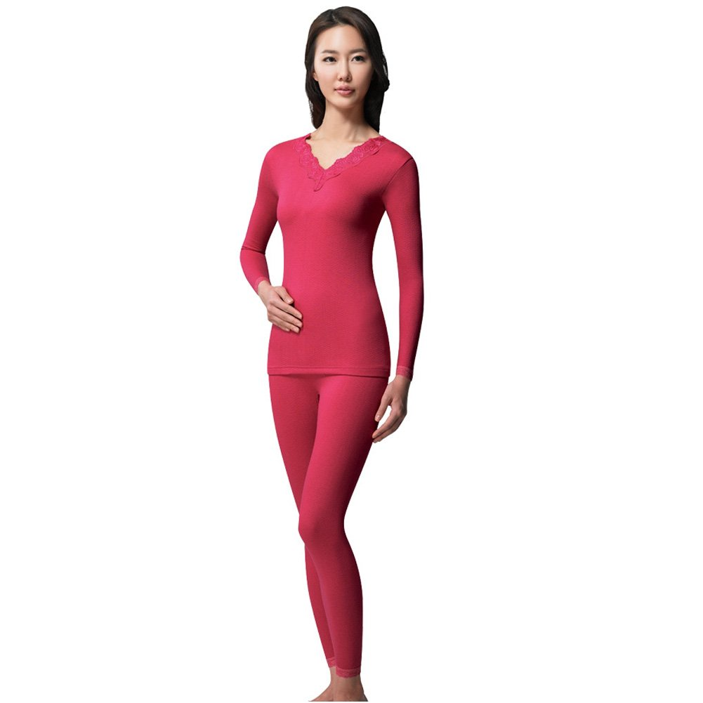 BYC Women Soft Thermal Underwear Set Top Bottom Long Johns Set (XS, 85, Rose Pink)