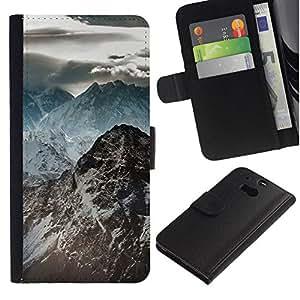 All Phone Most Case / Oferta Especial Cáscara Funda de cuero Monedero Cubierta de proteccion Caso / Wallet Case for HTC One M8 // Dark Rocky Mountains