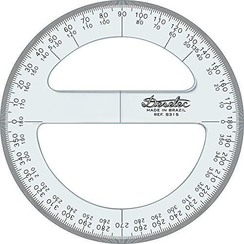8315 Transferidor Acrílico 360° 15 cm, Trident Incolor