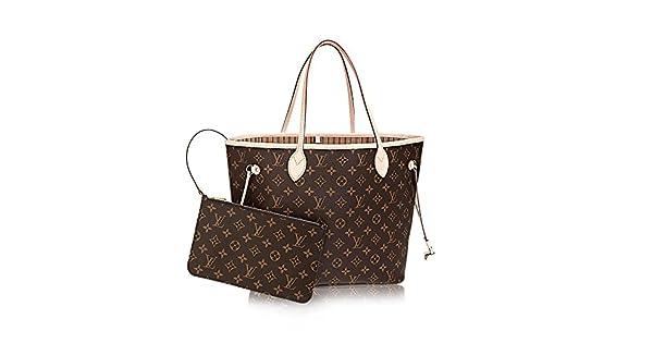 Amazon.com: Louis Vuitton Neverfull - Bolsa de lona beige ...