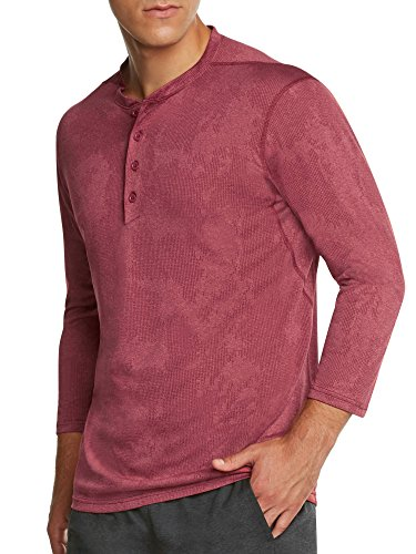 Mens Thermal 3/4 Sleeve Henley - Dry Fit Crewneck Workout Shirt w/Buttons Crimson