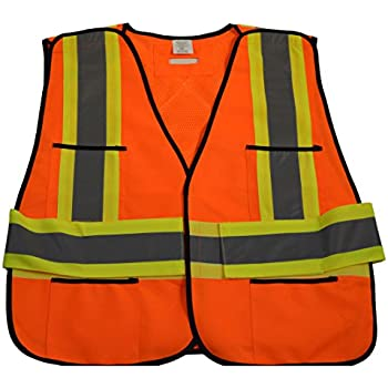 Petra Roc LV2-FSMBCB2-4X//5X ANSI Class 2 Lime Solid Front /& Mesh Back Surveyors Safety Vest Lime Solid//Mesh Back 4X-Large//5X-Large