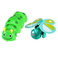 MagiDeal 2Pcs Plastic Wind-Up Caterpillar & Butterfly Model Toy for Kids Party Filler