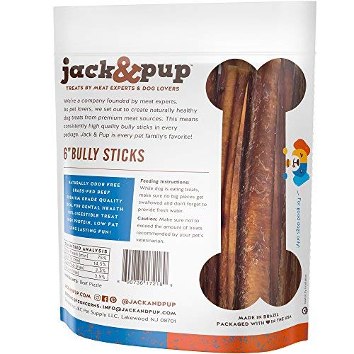 Jack & Pup 6-inch Premium Grade Odor Free Bully Sticks Dog Treats (25 Pack) - 6 Long All Natural Gourmet Dog Treat Chews - Fresh and Savory Beef Flavor - Long Lasting Treat