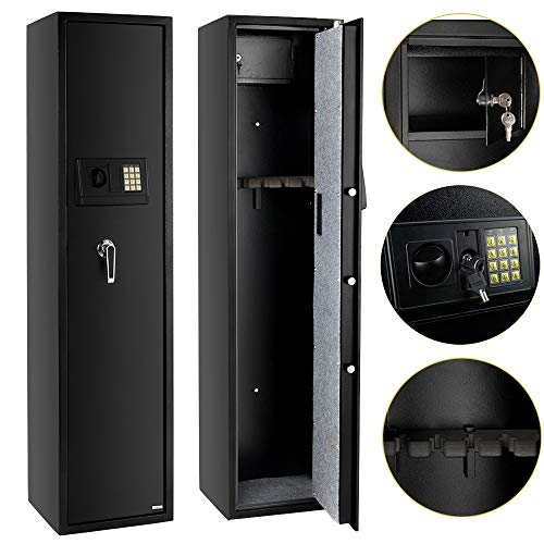 - FCH Electronic 5 Rifle Gun Safe Large Firearms Shotgun Storage Cabinet with Small Lock Box