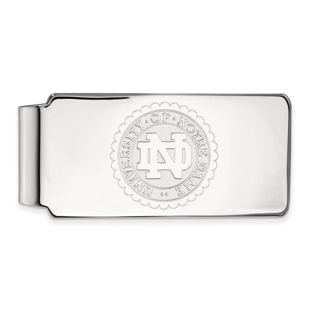 Jewel Tie 925 Sterling Silver University of Notre Dame Crest Money Clip