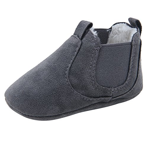 Kuner Baby Boys Girls Plush Soft Soled Winter Warm Boots Moccasins First Walkers Shoes (13cm(12-18months), Dark Gray)
