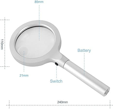 4.3 9.5 Inch KONGZIR Glass 12 LED Light,Upscale Aluminum Alloy Handheld Magnifier Reading Office Perfect 5X to 10X