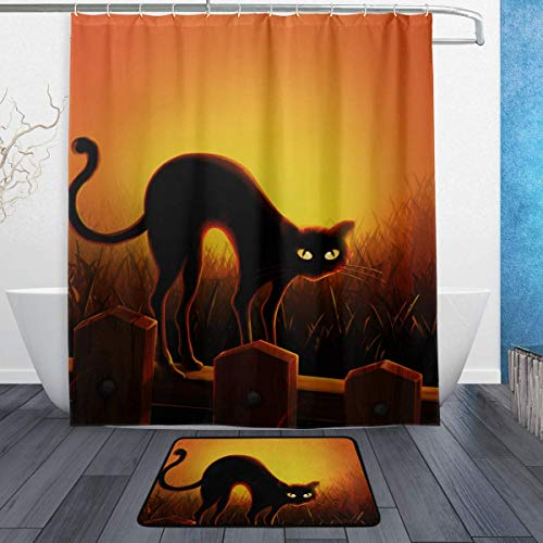 SZZWY Halloween Black Cat Background Pattern Shower Curtain Set 3D Printing Waterproof Coated Polyester Fabric Bathroom with 12 Hooks 71 inches Indoor Floor Mat Bath Rugs 60x40cm