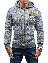 Men's Jersey Classic Zipper Hooded Sweatshirt Kangroo Pocket Hoodie Jacket