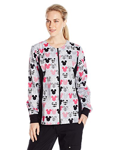 Scrubs Knit Jacket (Cherokee Women's Tooniforms-Disney Zip Front Knit Panel Warm-up Jacket, Mickey, Large)
