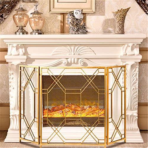 3パネル錬鉄暖炉、暖炉パネル用画面ソリッド赤ちゃんの安全暖炉フェンススチールスパークガードアウトドアメタル装飾メッシュカバー