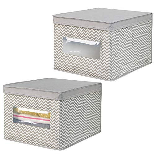 mDesign Soft Stackable Fabric Closet Storage Organizer Holder Box with Clear Window, Attached Hinged Lid - Bedroom, Hallway, Entryway, Closet, Bathroom - Chevron Print, Large, 2 Pack - Taupe/Natural