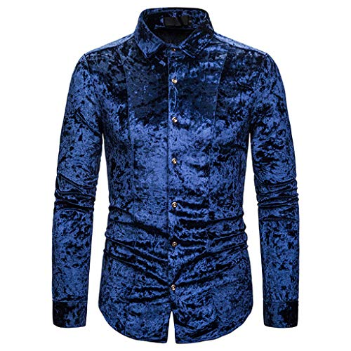 SFE Fashion Leisure Mens Letter Button Personality Shirt Long Sleeve T-Shirt Blouse Tops Dating Party Working Street Blue]()