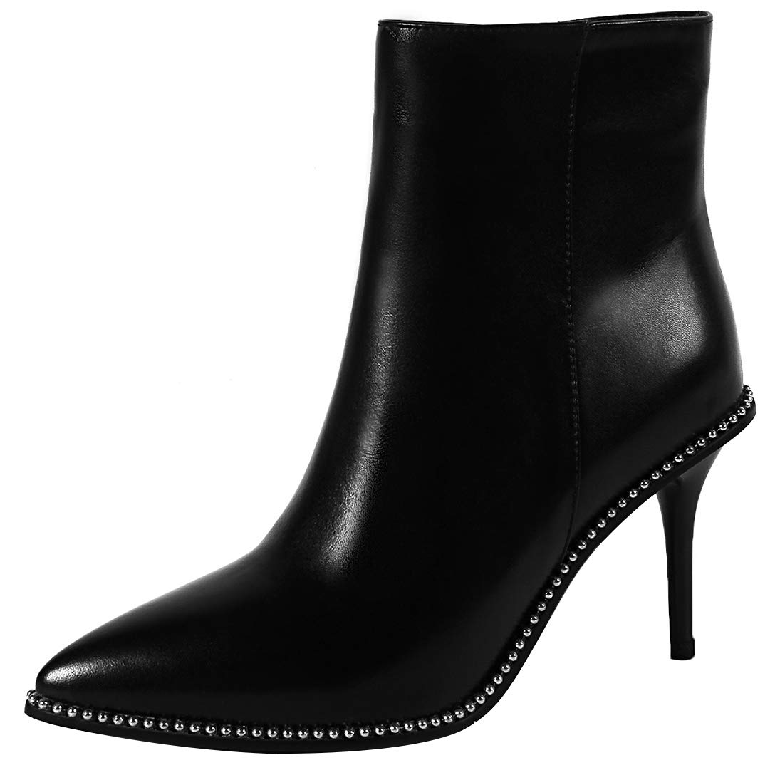 Black Eithy Women's Shacco Stiletto Ankle-high Zipper Leather Boots