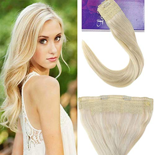 [Hot Color]LaaVoo 18inch One Piece Fish Line Halo Human Hair in Platinum Blonde Hair Extensions Secret Wire Tangle Free European Hair Extensions 11 inch Width 80g Per Pack (European Extensions 100 Hair Real)