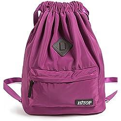 Waterproof Drawstring Sport Bag, Large lightweight Gym Sackpack backpack for Men and Women (Purple)