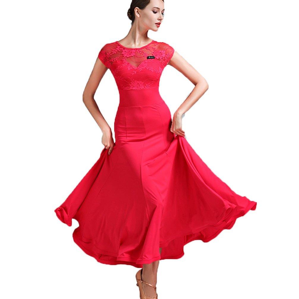 WQWLF Walzer Moderner Tanzrock für Frauen Schnüren Nähen Kurzarm Nationaler Standardtanz Performance Ballroom Tanzkleid Tango Professionel Übe Kostüm B07L2KFRJQ Bekleidung Bekannt für seine gute Qualität