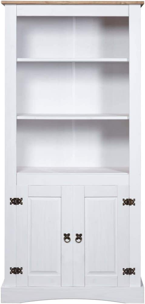 vidaXL Cupboard Mexican Pine Corona Range Home Furniture Living Room Dining Room Hallway Storage Sideboard Bookcase Display Cabinet White White