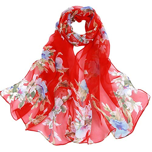 Lightweight Fall Scarfs for Women Hot Sale,deatu Clearance Ladies Peach Blossom Printing Long Soft Wrap Scarf Shawl (G) (Crochet Pattern For Infinity Scarf With Buttons)