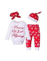 4pcs Baby Girls Boys Christmas Clothes Long Sleeve Romper+Pants+Hat+Headband Set