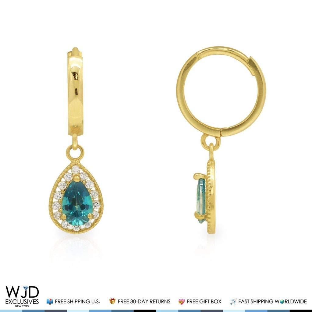 0.80Ct Created Diamond /& Blue Topaz Huggie Hoop Dangle Earrings 14K Yellow Gold