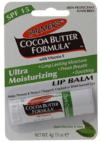 Palmer's Cocoa Butter Formula Ultra Moisturizing Lip Balm SPF 15 Dark, Chocolate & Mint 0.15 oz (Pack of 5)