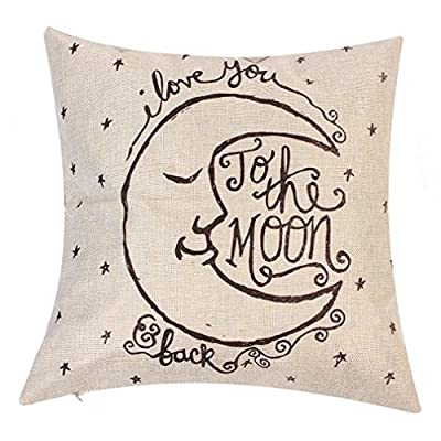 """Onker Cotton Linen Square Decorative Throw Pillow Case Cushion Cover 18"""" x 18"""" Vintage I Love You to the Moon and Back"""