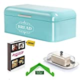 Vintage Bread Box For Kitchen Stainless Steel Metal in Retro Turquoise Blue + FREE Butter Dish + FREE Bread Serving Suggestions eBook 16.5