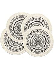 LOMOHOO Set of 4 Round Placemats 13 Inch Table Mats Boho Cotton Woven Mandala Tassels Heat Proof Washable Circle Place Mat for Kitchen Dining Wedding Farmhouse Home Decoration