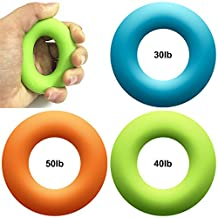 3 Pack Round Silicone Hand Grips, Maxin 3 Levels ( 30lbs,40lbs and 50lbs )Hand Gripper Strengthener Excercisers-Perfect for Increasing Hand, Finger, Wrist, and Forearm Strength.