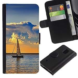 LeCase - Samsung Galaxy S5 V SM-G900 - Nature Sailboat Sea - Cuero PU Delgado caso Billetera cubierta Shell Armor Funda Case Cover Wallet Credit Card