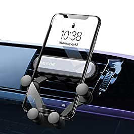 Car Phone Holder 2-in-1 -Gravity Auto Lock Cell Phone Mount for Air Vent Dashboard for iPhone 11/11 Pro/11 Pro Max X/8/7/6 Samsung S10 HTC Sony Huawei P30-Sliver
