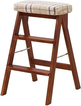 SMBYLL Escalera Taburete Taburete Plegable de Madera Maciza hogar Escalada Taburete Moda Silla Plegable Plegable portátil de Doble Uso Banco de la Cocina Taburete Escalera Taburete Escalera: Amazon.es: Hogar