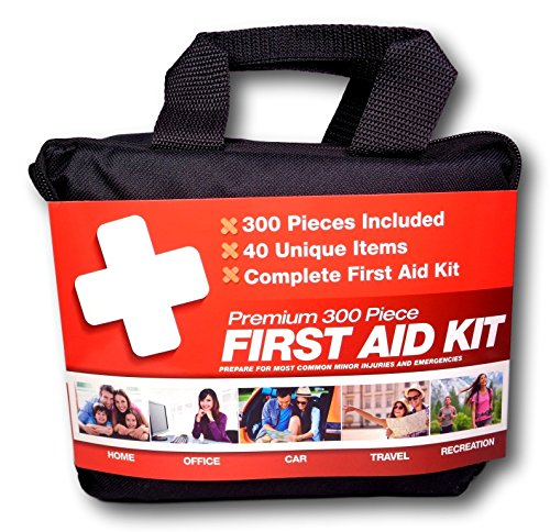 300 Piece (40 Unique Items) First Aid Kit w/ Bag by M2 Basics + FREE First Aid Guide | Emergency Medical Supply | For Home, Office, Outdoors, Car, Camping, Travel, Survival, (Metal Eye Patch)