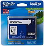 "Brother Genuine P-touch TZE-231 Tape, 1/2"" (0.47"") Wide Standard Laminated Tape, Black on white, Laminated for Indoor or Outdoor Use, Water-Resistant, 0.47"" x 26.2' (12mm x 8M), TZE231"