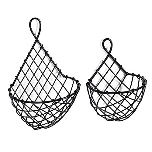 Wall Mounted Black Metal Fruit Vegetable Baskets, Large & Small Hanging Produce Bins, Set of 2 (Hanging Onion Basket)