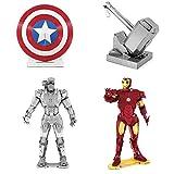 model kits marvel - Fascinations Metal Earth 3D Model Kits Marvel Avengers SET 4 = Iron Man - War Machine - Captain America's Shield - Thor's Hammer