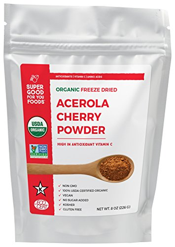 Super Good For You Foods Organic Freeze Dried Acerola Cherry Powder, Gluten-Free, Non-GMO + Vegan, 8 Ounce Bag