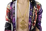 TFJ Men Fashion Necklace Gold Metal Chains Huge Sparkling Dollar Sign Pendant Money $ Hip Hop