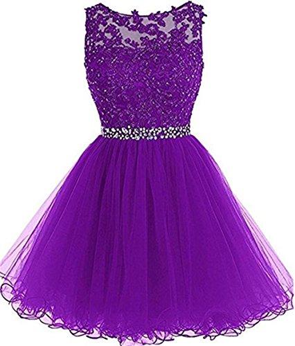 - Women's Short Tulle Prom Dresses Lace Keyhole Back Cocktail Party Dresses Purple,US4