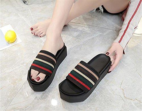 Beach pit4tk Sandals Wedge Flip Strap Womens Summer Thong Platform Flops Beach Green Shoes fqXSwf