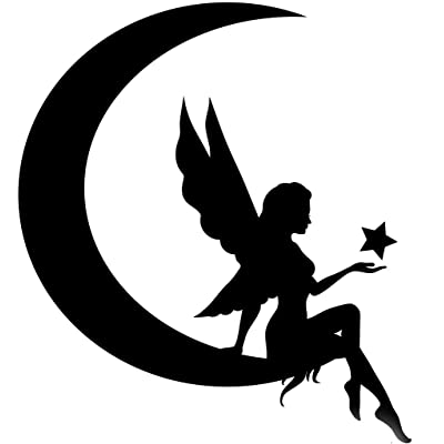 Fairy Moon Silhouette Vinyl Decal Sticker|Car Truck Wall Computer Laptop Phone | Black Decal | 5 X 5.5 in | KCD272: Automotive